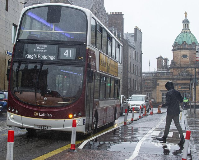 Floating bus stops - which put a cycle lane between the pavement and the bus making access tricky for some - have been a feature of Edinburgh's Spaces for People vision. PIC: Lisa Ferguson.