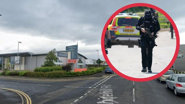 Armed officers attended the scene at Fort Kinnaird.