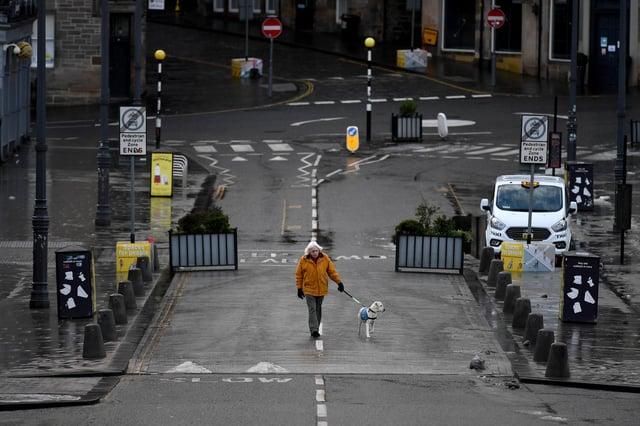 A quiet dog walk in Edinburgh City Centre on January 4, 2021