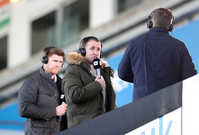 Former Ospreys and Wales national team player Shane Williams (centre) commentating for S4C during the Heineken Challenge Cup match at Liberty Stadium, Swansea. Picture date: Saturday April 3, 2021.