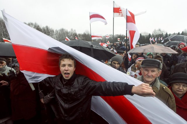 Raman Pratasevich, a prominent opponent of Belarus's authoritarian president , attends an opposition rally in Minsk in 2012 (Picture: AP)