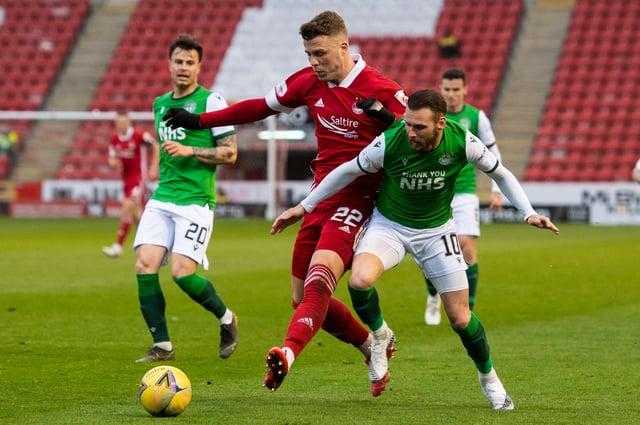 Hibs forward Martin Boyle gets the better of former team-mate Florian Kamberi of Aberdeen