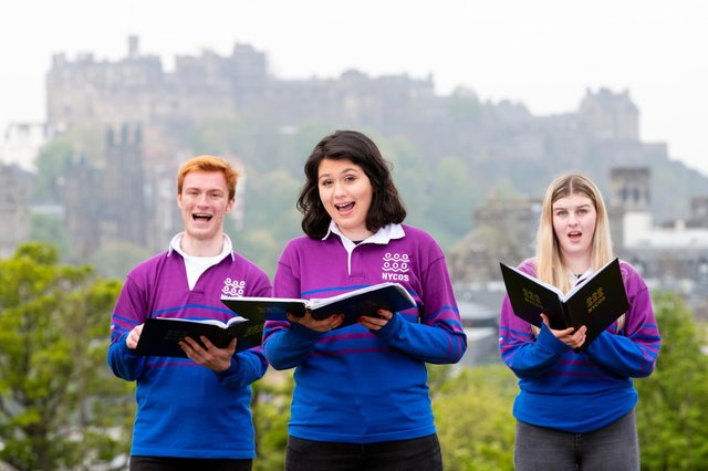 Jamie Lewis, Lucy McVicar and Kristen Forbes sang with the National Youth Choir of Scotland this morning on Calton Hill as restrictions ease across Scotland. (Picture credit:  Ian Georgeson)
