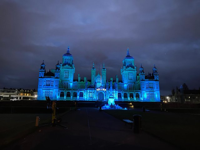 Stewart's Melville College lit up ahead of tonight's show of respect for NHS workers. (Credit: Daniel Beaton)