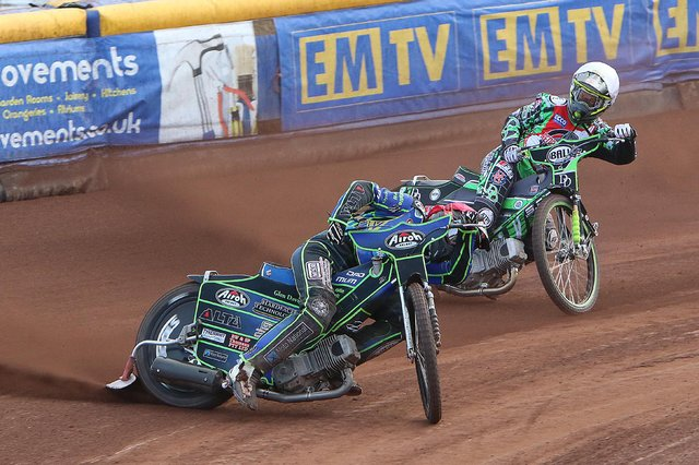 Monarchs' Kye Thomson, making his British speedway debut, took a superb victory in heat five after impressively fending off the challenge of 2019 British champion Charles Wright. Pic: Jack Cupido