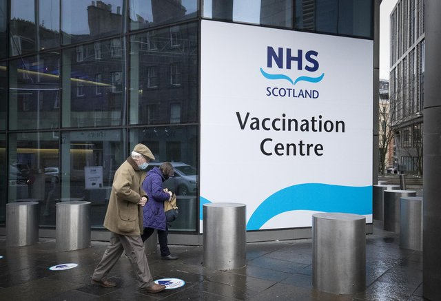 The main entrance to the vaccine centre at the Edinburgh International Conference Centre. Picture date: Monday February 1, 2021.