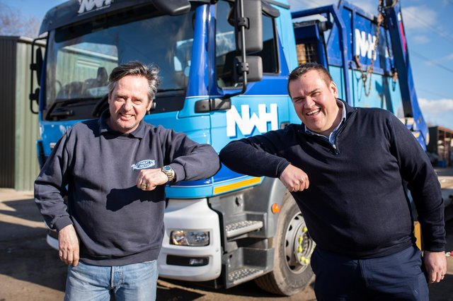 From left: Gordon Stanley from J&J Stanley Recycling and Mark Williams, CEO at NWH Group, at the Cowen Road site in Blaydon. Picture: The Bigger Picture Agency.