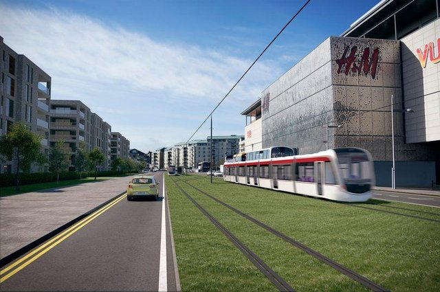 Aartist's impression of the tram line passing Newhaven