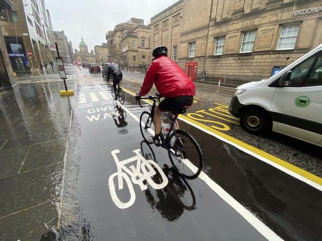 Floating bus stops are one feature of Edinburgh's Spaces for People project which separates the pavement from bus access by a cycle lane. Some elements of the programme, which was introduced during the pandemic, look set to be retained. PIC: Lisa Ferguson