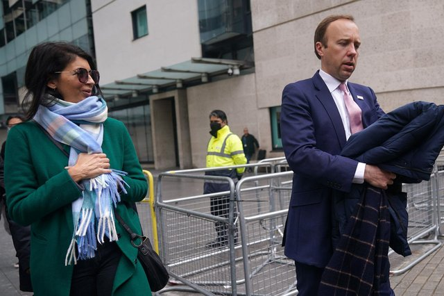 Matt Hancock with adviser Gina Coladangelo before revelations about their affair forced his resignation as Health Secretary (Picture: Yui Mok/PA Wire)