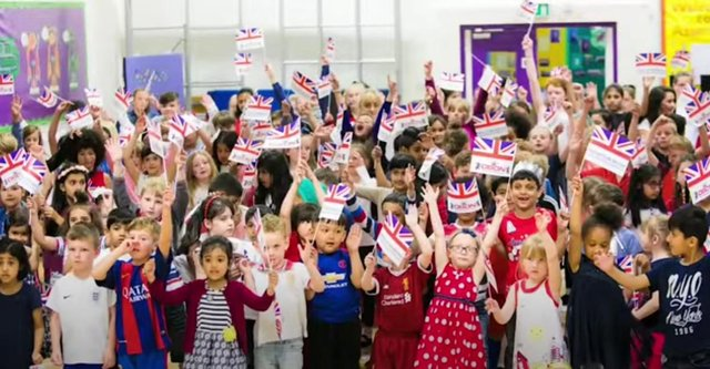 The campaign urges children across Britain to sing the One Britain One Nation anthem.