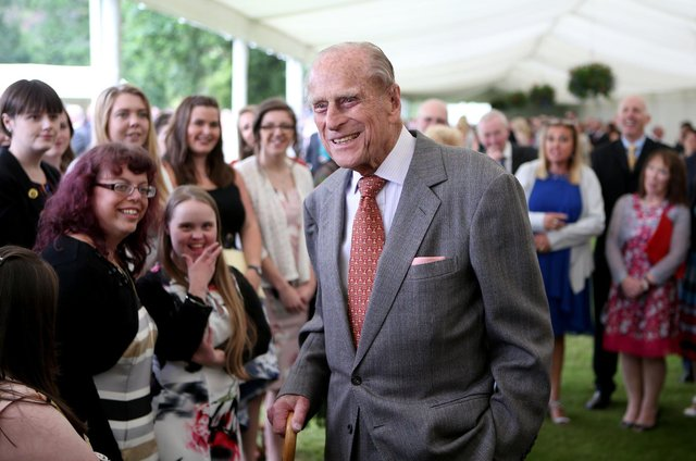 The Duke of Edinburgh at a presentation reception for The Duke of Edinburgh Gold Award holders in the gardens at the Palace of Holyroodhouse  in July 2017   Photo: Jane Barlow/PA Wire