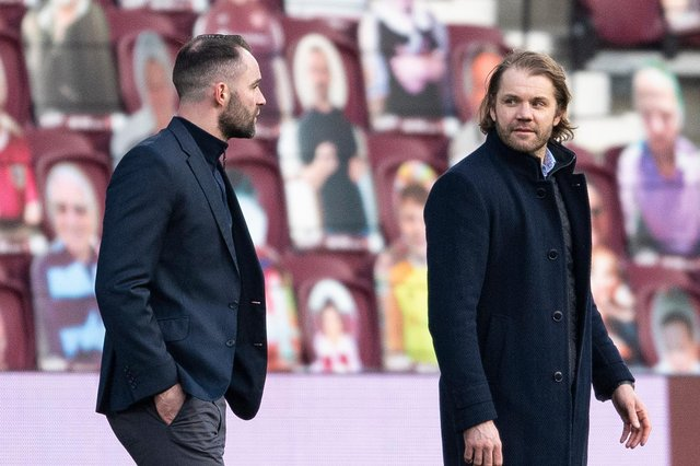 Dundee manager James McPake (left) will be hoping for Hearts win on Friday night to aid his side's chances of finishing second. (Photo by Ross MacDonald / SNS Group)