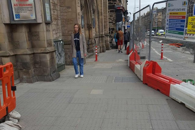 Thin stretch of pavement where pedestrians have had near misses with cyclists