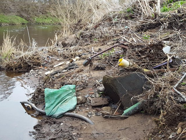 Litter on the banks of the River Almond