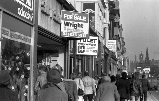Shops For Sale or To Let signs in Princes Street Edinburgh, February 1984.