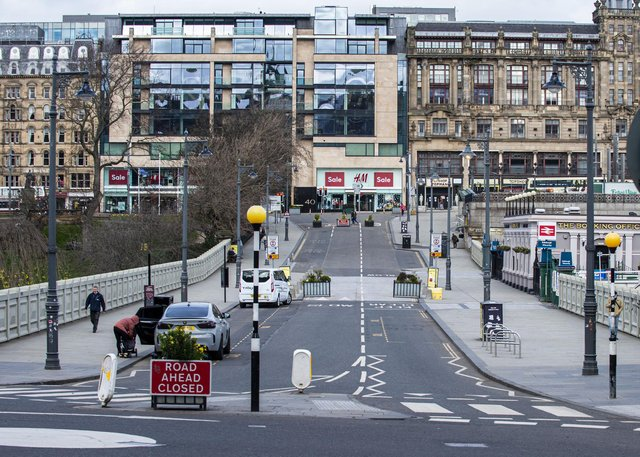 Streets in Edinburgh's city centre were quiet in the run-up to the anniversary of the first Covid lockdown (Picture: Lisa Ferguson)