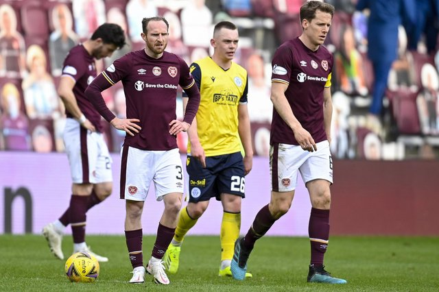 Hearts' Aidy White and Christophe Berra can't hide their dejection at full-time.
