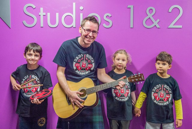 Photograph by Ian Georgeson From the Dads Rock launch night at Edinburgh college Pic: Fergus Wright (8), Thomas Lynch, Hanka Seabright (6) and Daniel Nec (4)