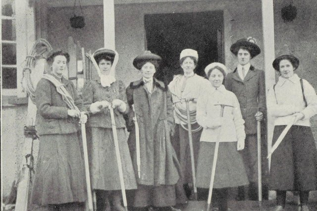 Jane Inglis Clark of Edinburgh (pictured holding ropes) , a founding member of the Ladies' Scottish Climbing Club. Members are pictured ahead of a New Year outing in 1909.