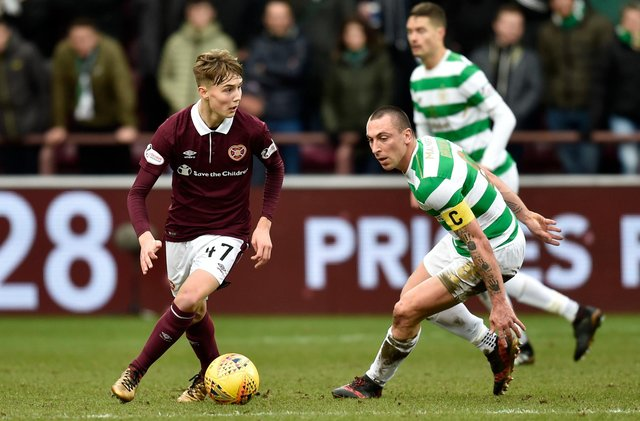 Hearts' Harry Cochrane (left) with Scott Brown during a match at Tynecastle Park in 2017.