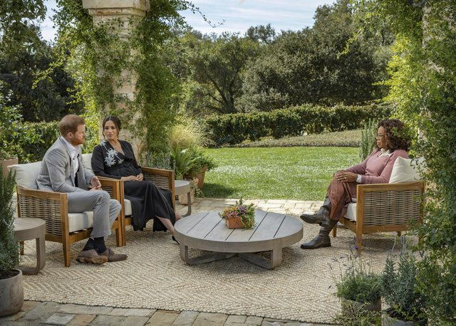 Duke and Duchess of Sussex during their interview with Oprah Winfrey which was broadcast in the US on March 7 picture: Joe Pugliese/Harpo Productions