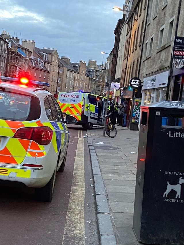 Officers called to an incident on Nicolson Street, Edinburgh - one man has been arrested picture: supplied