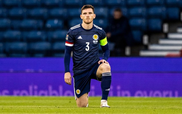 Scotland captain Andy Robertson takes a knee prior to the UEFA Nations League match againt Israel at Hampden in September 2020