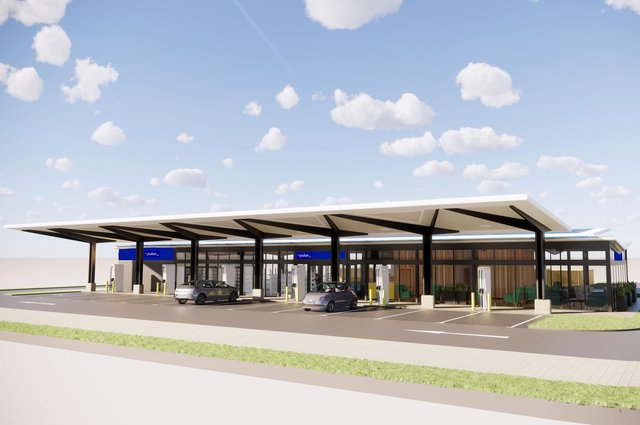 The sites will be developed by EVN with each having a range of ultra-fast charging bays and some becoming 'convenience and mobility hubs' with food, drink and other facilities on offer to drivers as they charge.