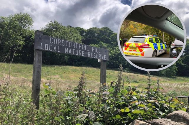 Corstorphine Hill in Edinburgh, and a picture of a police car at the scene on Tuesday when investigations were being carried out picture: JPI Media