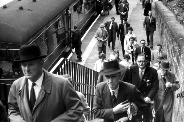 Passengers leaving the platform at Morningside Station, Edinburgh in 1961