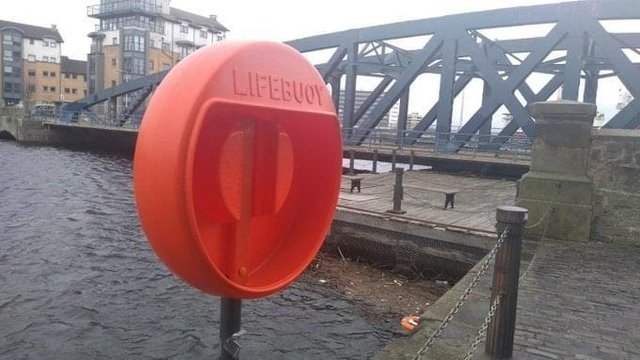 The lifebelt was vandalised. Pic: SOS Leith facebook page
