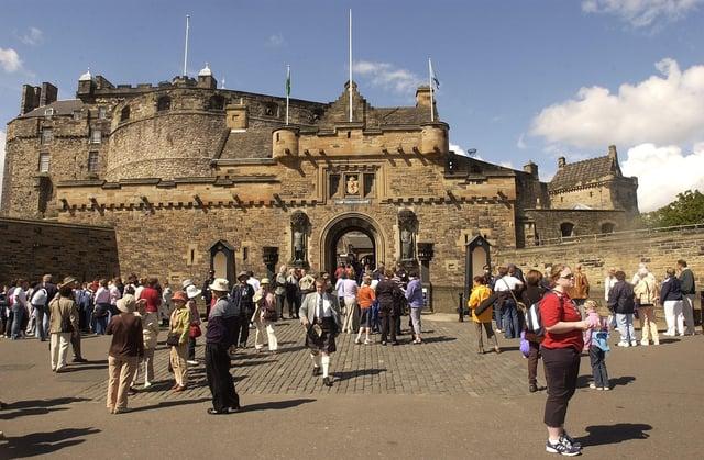 Tourists on the Esplanade at Edinburgh Castle