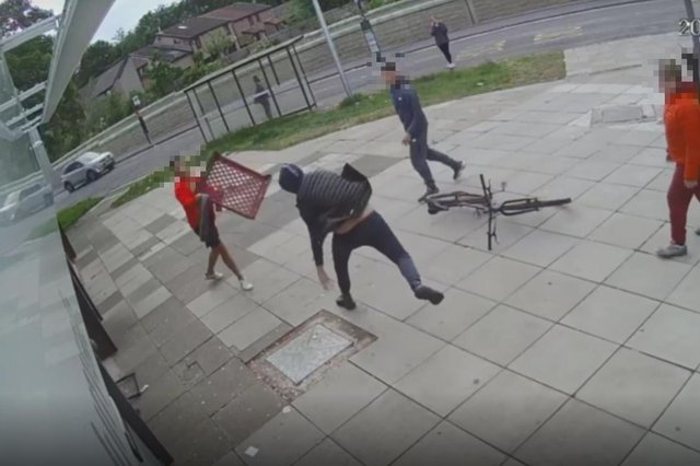 A group of youths were captured on CCTV attacking the man.