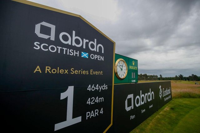 A general view of branding on the first tee prior to the abrdn Scottish Open at The Renaissance Club in East Lothian. Picture: Luke Walker/Getty Images.