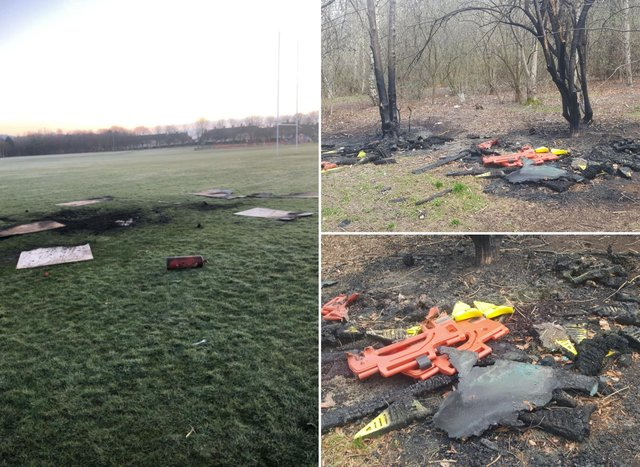 Fire damage and vandalism at Sighthill Park.