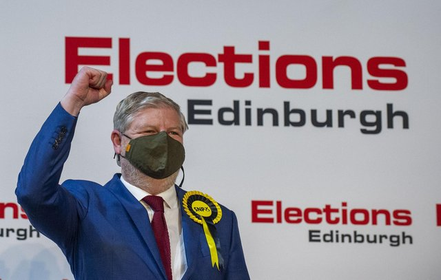 Angus Robertson celebrates being elected MSP for Edinburgh Central (Picture: Lisa Ferguson)