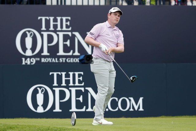 Bob MacIntyre of Scotland plays his shot from the first tee during the opening round of the 149th Open at Royal St George's. Picture: Oisin Keniry/Getty Images.