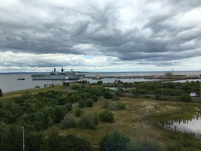 HMS Albion coming into Leith Harbour on Friday, 25 June.