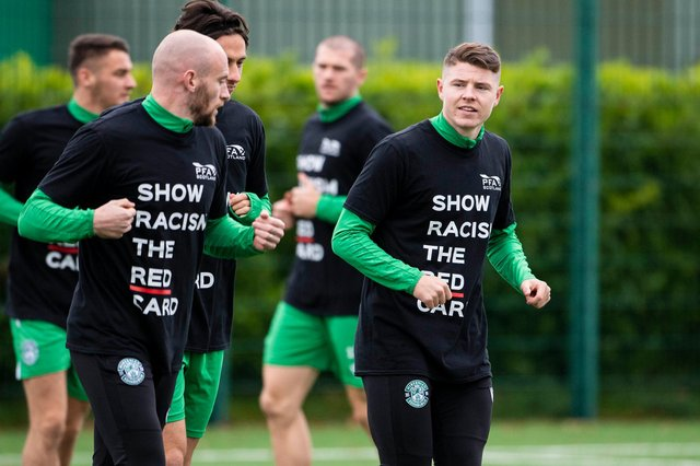 Hibs players incuding David Gray and Kevin Nisbet show the club's support for Show Racism the Red Card