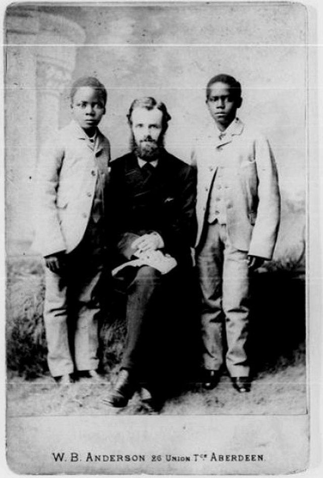 Missionary Joseph Clarke, who lived with his adopted son Tom in Morningside and three other children from the Congo. He is pictured in Aberdeen in the late 19th Century with two boys likely taken on tour with him to fundraise for mission work. PIC: Regions Beyond Missionary Work.