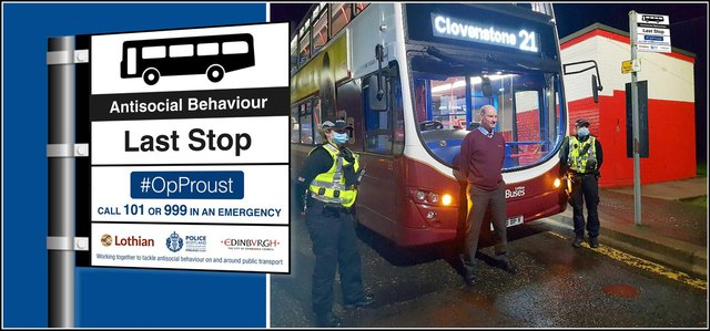 Police have commented that a Lothian bus driver has been 'badly hurt' after a stone was thrown at a bus, smashing its window (Photo: Police Scotland).