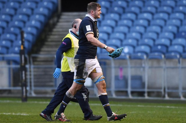 Scott Cummings had to go off with a hand injury during Scotland's Six Nations defeat by Ireland. Picture: Ross MacDonald/SNS