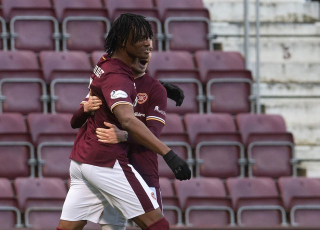 Armand Gnanduillet impressed in attack for Hearts. Picture: SNS