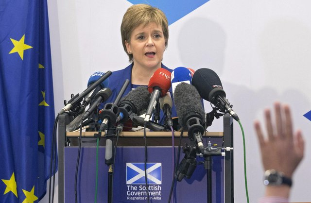 First Minister Nicola Sturgeon holds a news conference at Scotland House in Brussels