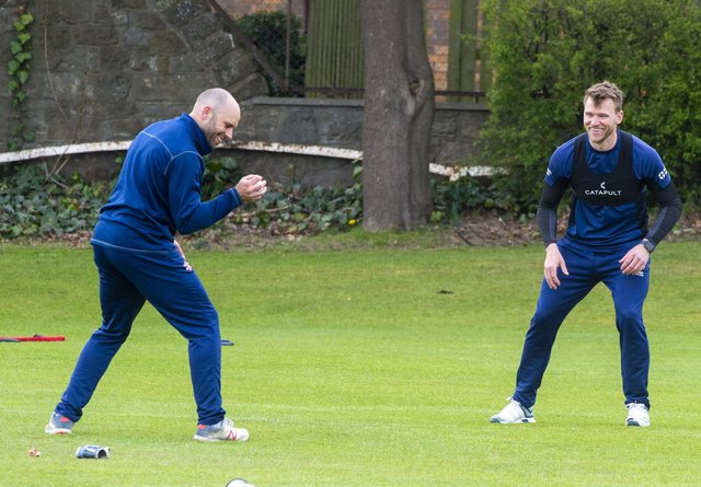 Scotland's Kyle Coetzer and Richie Berrington train at Goldenacre in Edinburgh ahead of the new cricket season. Picture: Lisa Ferguson