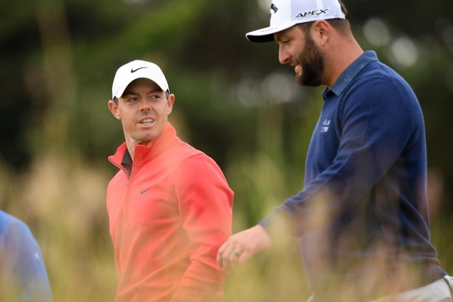 Rory McIlroy pictured with Jon Rahm during day two of the abrdn Scottish Open at the Renaissance Club near North Berwick. Picture: Ross Parker/SNS