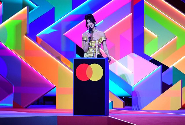 Dua Lipa accepts the award for Best Album during the Brit Awards 2021 at the O2 Arena, London.