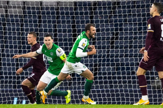 Hibs' Christian Doidge celebrates after scoring to make it 1-1 during the Scottish Cup semi-final match against Hearts. Photo by Alan Harvey / SNS Group