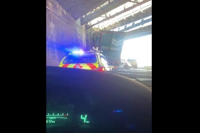 The Ferguson lorry crashed into the Craigentinny Rail Bridge (Photo: Willie Reid).